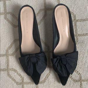 Zara bow velvet kitten heels size 40